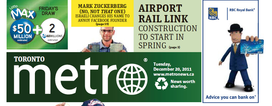 I'm Mark Zuckerberg stunt on the cover of Metro Toronto